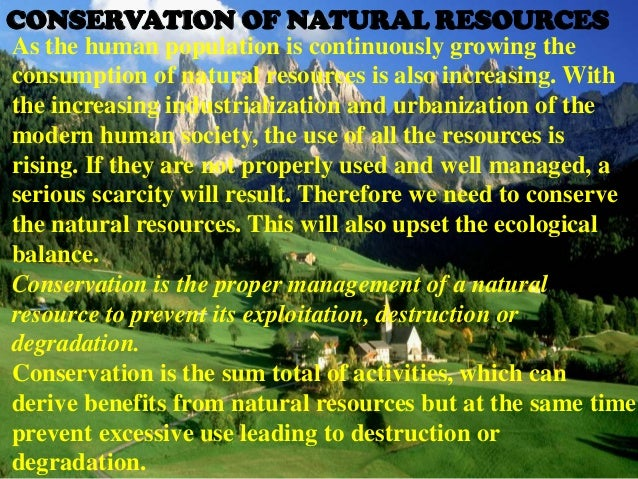 conservation of natural resources essay Essays - largest database of quality sample essays and research papers on conservation of natural resources.