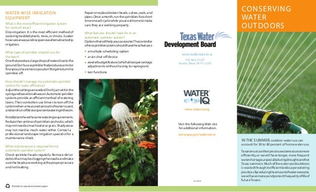 WATER-WISE IRRIGATION                                     Repair or replace broken heads, valves, seals, and              ...