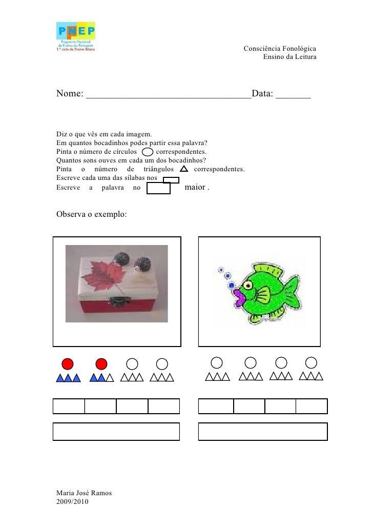 Consciência Fonológica                                                                 Ensino da Leitura    Nome: ________...
