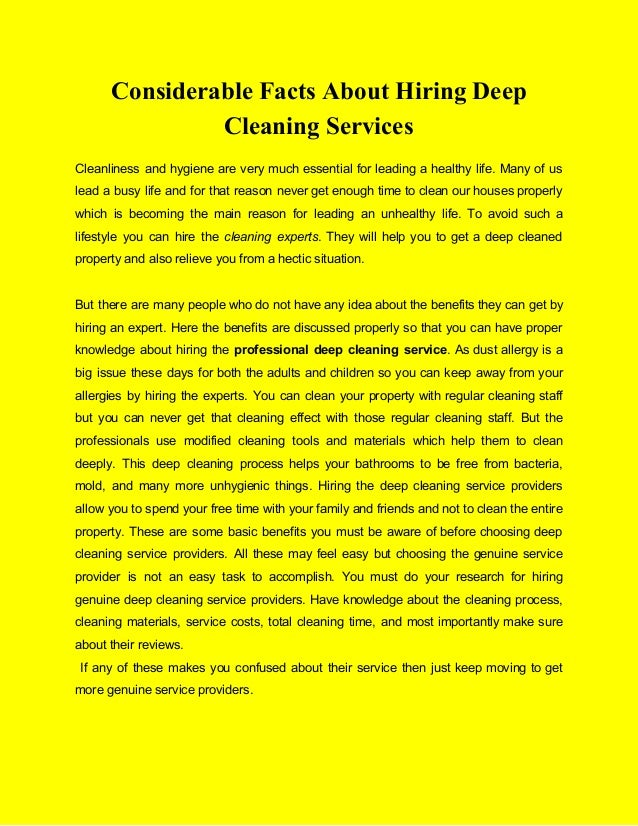 Considerable Facts About Hiring Deep Cleaning Services Cleanliness and hygiene are very much essential for leading a healt...