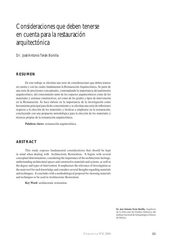 Terán: Consideraciones que deben tenerse en cuenta para la Restauración ArquitectónicaConsideraciones que deben tenerseen ...