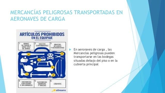 MERCANCÍAS PELIGROSAS TRANSPORTADAS EN AERONAVES DE CARGA  En aeronaves de carga , las Mercancías peligrosas pueden trans...