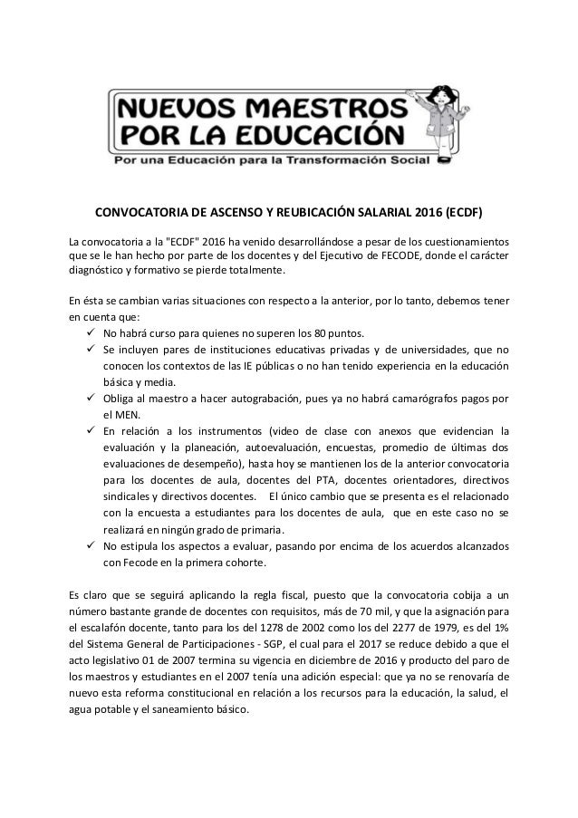 Consideraciones convocatoria ascenso y reubicaci n Convocatoria para las plazas docentes 2016