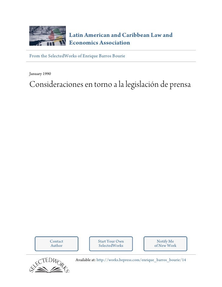 Latin American and Caribbean Law and                     Economics AssociationFrom the SelectedWorks of Enrique Barros Bou...