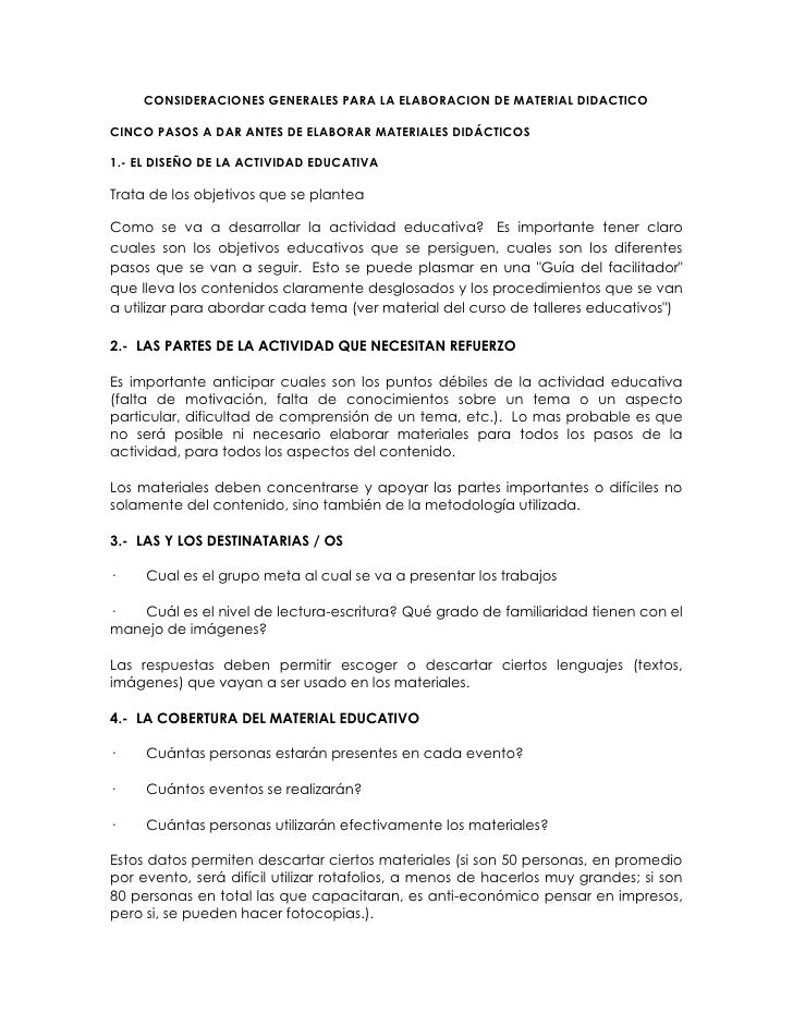 CONSIDERACIONES GENERALES PARA LA ELABORACION DE MATERIAL DIDACTICOCINCO PASOS A DAR ANTES DE ELABORAR MATERIALES DIDÁCTIC...