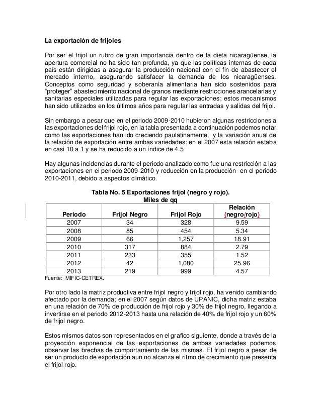 La exportación de frijoles Por ser el frijol un rubro de gran importancia dentro de la dieta nicaragüense, la apertura com...