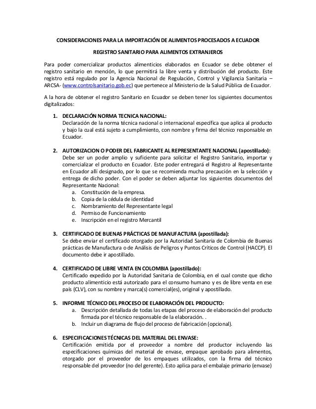 CONSIDERACIONES PARA LA IMPORTACIÓN DE ALIMENTOS PROCESADOS A ECUADOR  REGISTRO SANITARIO PARA ALIMENTOS EXTRANJEROS  Para...