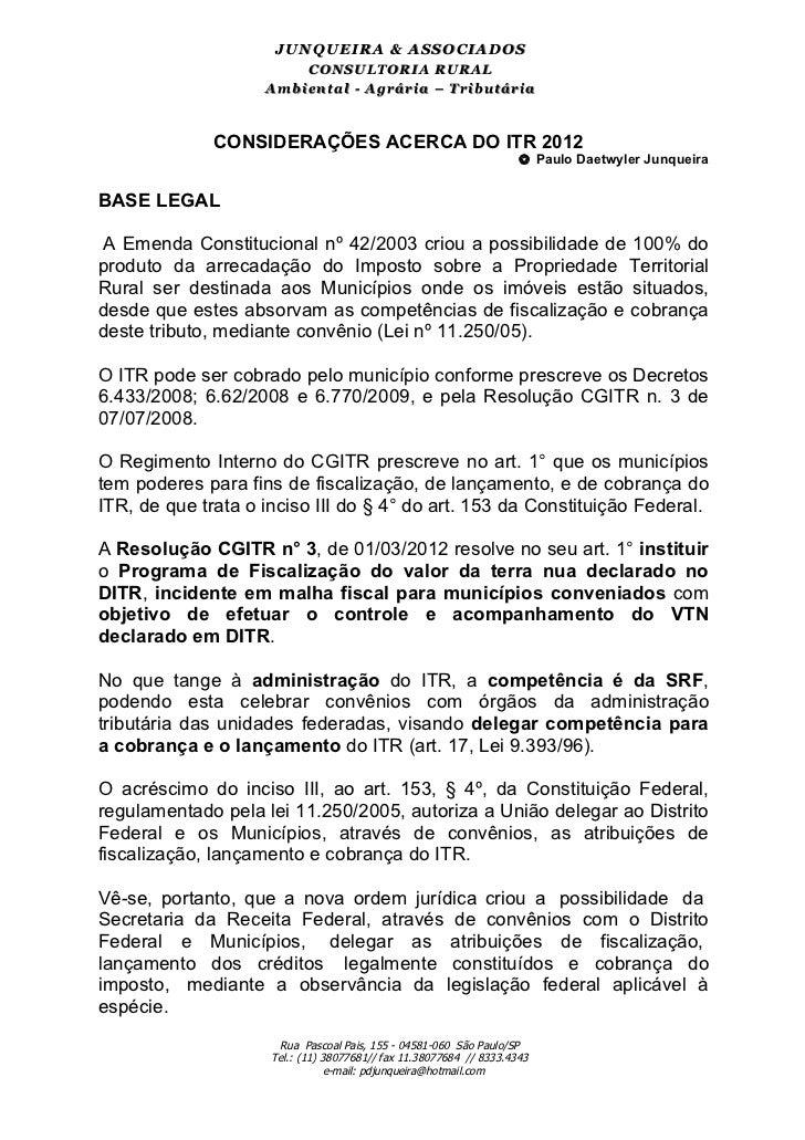 JU N Q U EIR A & ASSO CIAD O S                         CONSULTORIA RURAL                    Am biental - Agrária – Tributá...