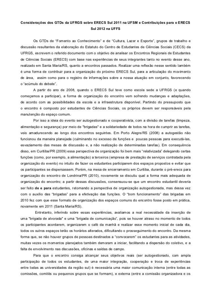 Considerações sobre o ERECS Sul