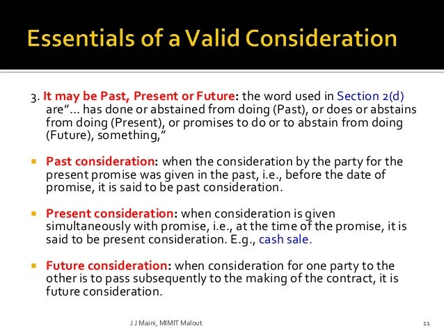 past consideration is valid consideration