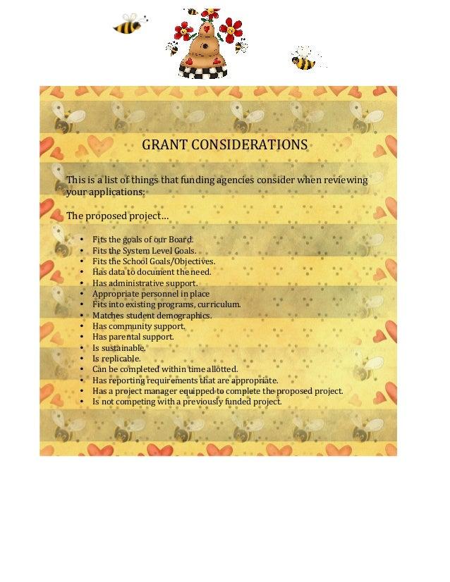 GRANT CONSIDERATIONS                                               ...