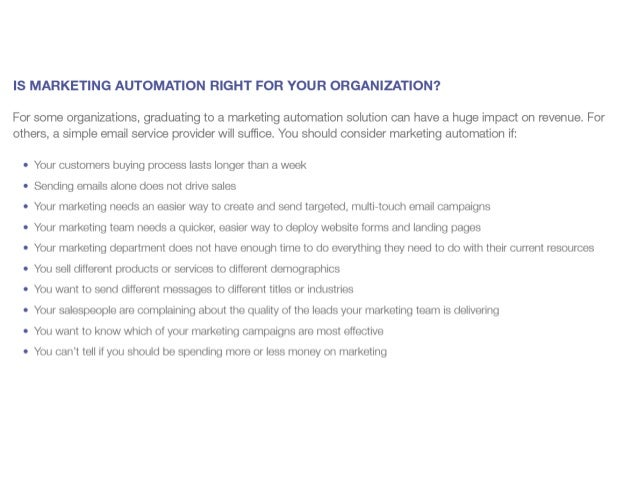 Considerations for marketing automation