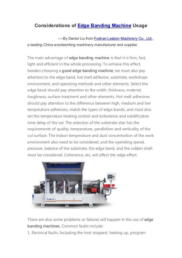 Considerations of edge banding machine usage