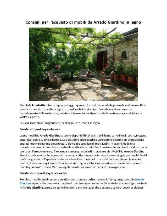 Acquisto Tavoli Da Giardino.Consigli Per L Acquisto Di Mobili Da Arredo Giardino In Legno