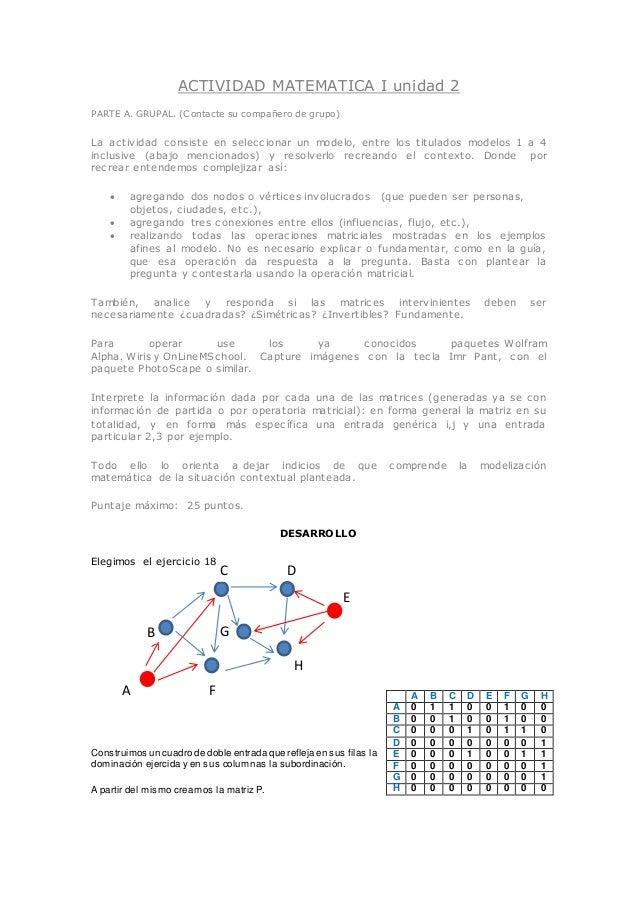 ACTIVIDAD MATEMATICA I unidad 2 PARTE A. GRUPAL. (Contacte su compañero de grupo) La actividad consiste en seleccionar un ...