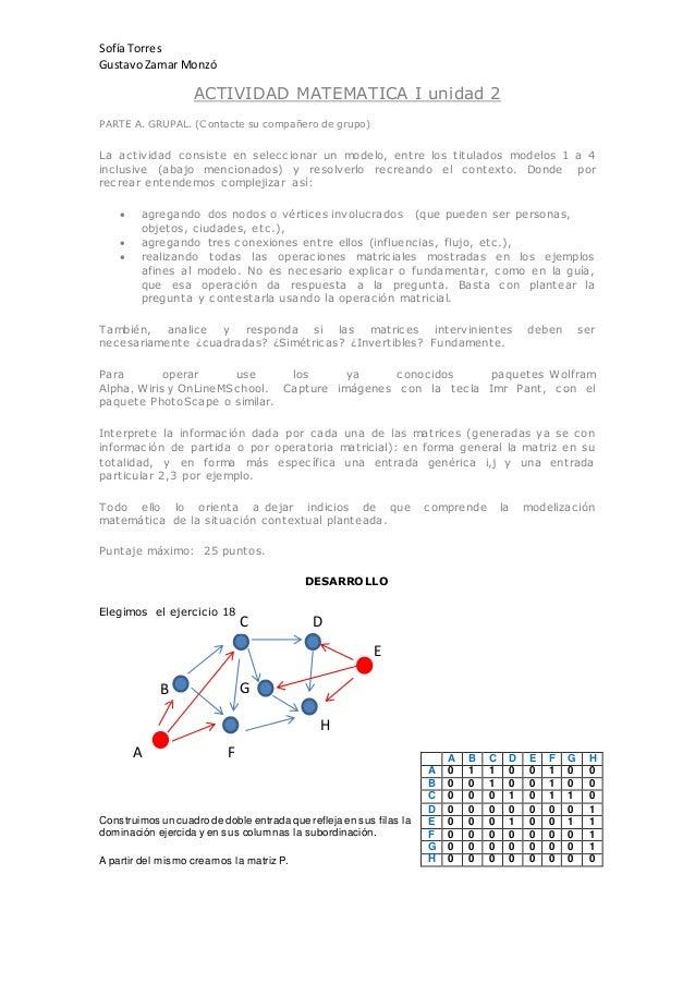 Sofía Torres GustavoZamar Monzó ACTIVIDAD MATEMATICA I unidad 2 PARTE A. GRUPAL. (Contacte su compañero de grupo) La activ...
