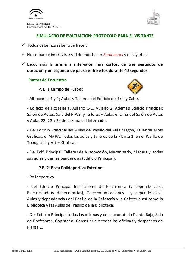 "I.E.S. ""La Rosaleda"" Coordinadora del PSLYPRL Fecha 18/11/2013 I.E.S. ""La Rosaleda"" –Avda. Luis Buñuel nº8, 29011 Málaga ..."