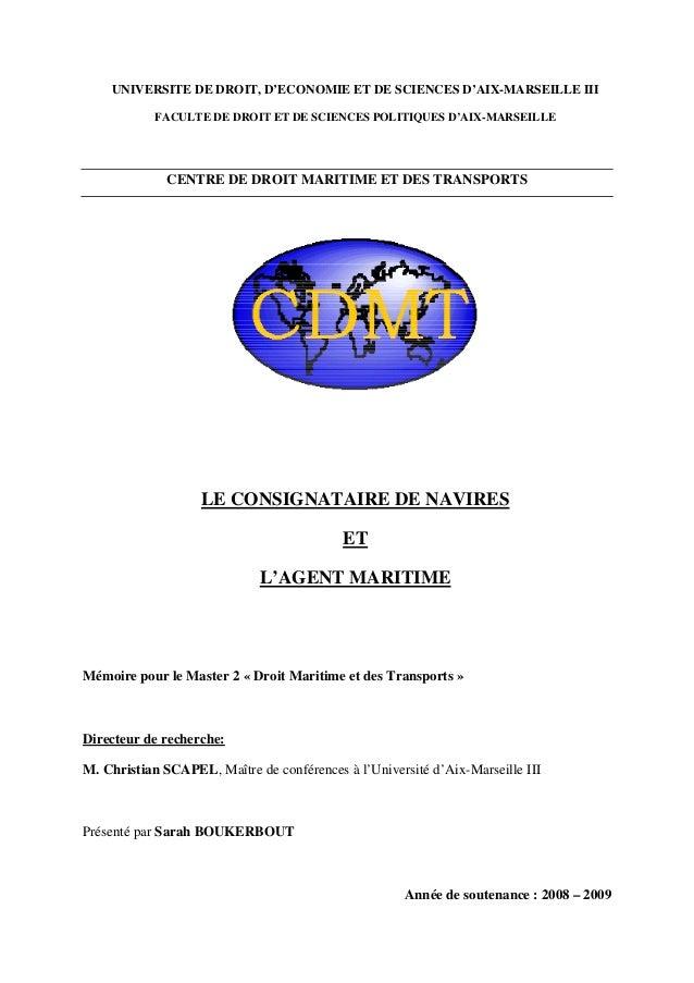 UNIVERSITE DE DROIT, D'ECONOMIE ET DE SCIENCES D'AIX-MARSEILLE III FACULTE DE DROIT ET DE SCIENCES POLITIQUES D'AIX-MARSEI...