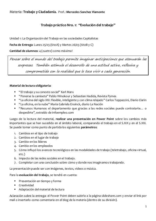 """Materia: Trabajo y Ciudadanía. Prof.: Mercedes Sanchez Viamonte                         Trabajo práctico Nro. 1: """"Evolució..."""
