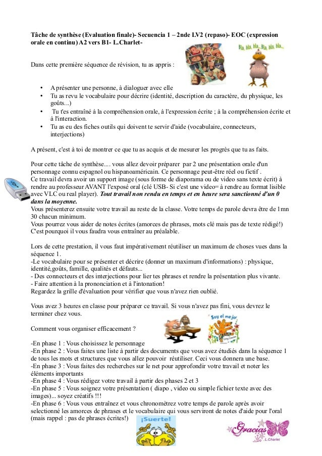Consignes t che finale 2nde secuencia repaso - Grille evaluation expression ecrite anglais ...