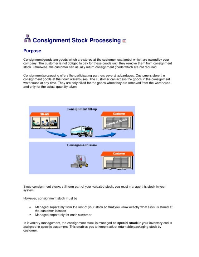Consignment Stock ProcessingPurposeConsignment goods are goods which are stored at the customer locationbut which are owne...