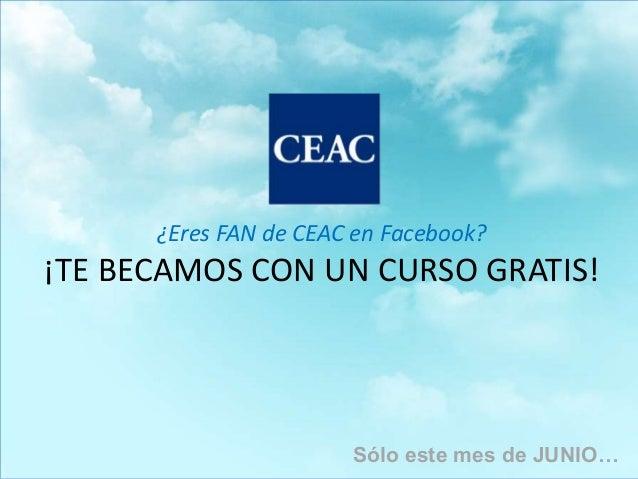 Título presentaciónÁrea: EjemploTutor: Ejemplo EjemploRRSS¿Eres FAN de CEAC en Facebook?¡TE BECAMOS CON UN CURSO GRATIS!Só...