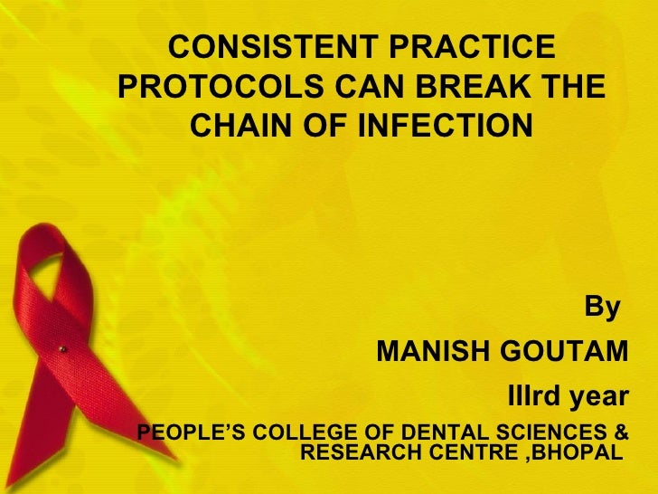CONSISTENT PRACTICE PROTOCOLS CAN BREAK THE CHAIN OF INFECTION By  MANISH GOUTAM IIIrd year PEOPLE'S COLLEGE OF DENTAL SCI...