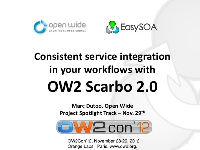 Consistent service integration   in your workflows with  OW2 Scarbo 2.0          Marc Dutoo, Open Wide     Project Spotlig...