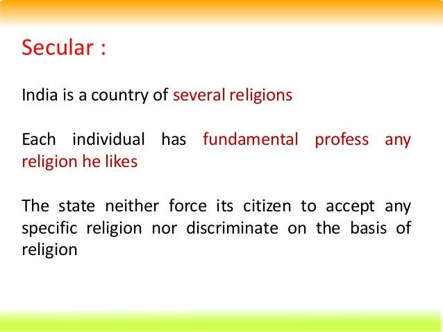 Secular state means ... Constitutional law