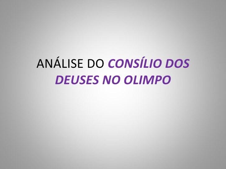 ANÁLISE DO  CONSÍLIO DOS DEUSES NO OLIMPO