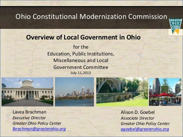 Ohio Constitutional Modernization Commission for the Education, Public Institutions, Miscellaneous and Local Government Co...