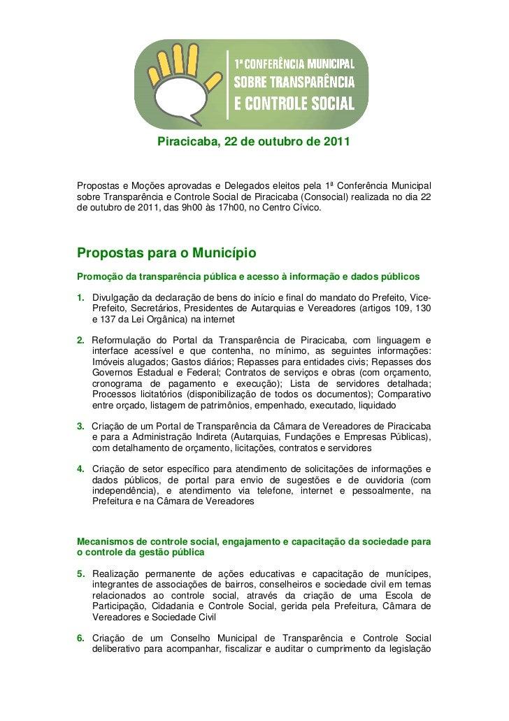 Piracicaba, 22 de outubro de 2011Propostas e Moções aprovadas e Delegados eleitos pela 1ª Conferência Municipalsobre Trans...