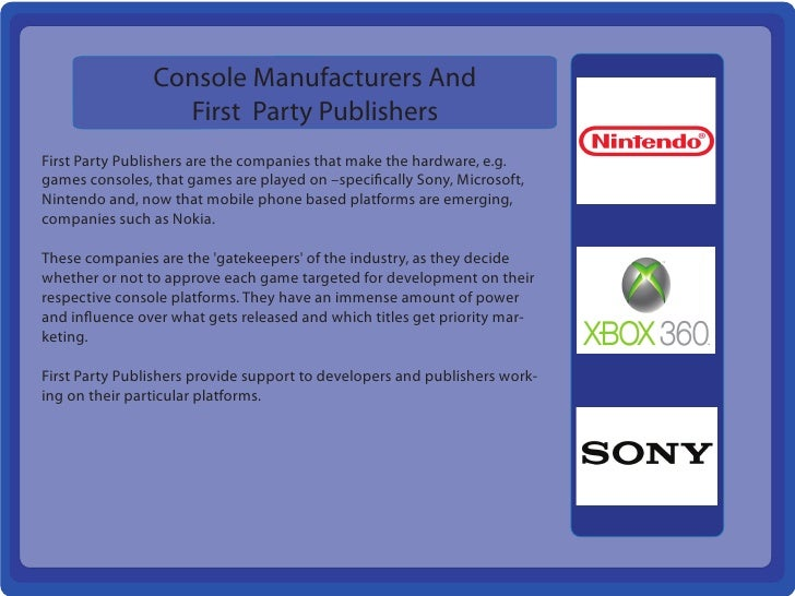 Console Manufacturers And                  First Party PublishersFirst Party Publishers are the companies that make the ha...