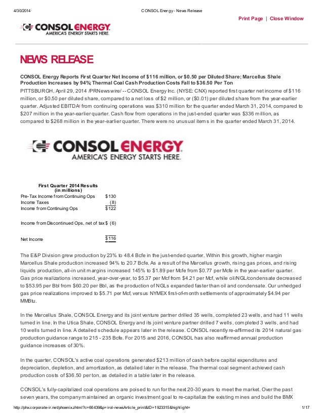 4/30/2014 CONSOL Energy- News Release http://phx.corporate-ir.net/phoenix.zhtml?c=66439&p=irol-newsArticle_print&ID=192331...