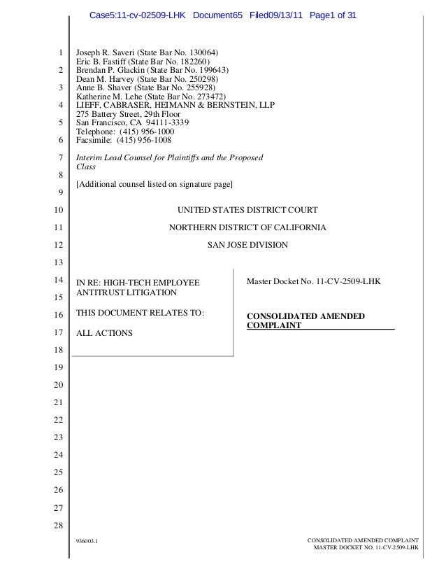 1 2 3 4 5 6 7 8 9 10 11 12 13 14 15 16 17 18 19 20 21 22 23 24 25 26 27 28 936003.1 CONSOLIDATED AMENDED COMPLAINT MASTER ...