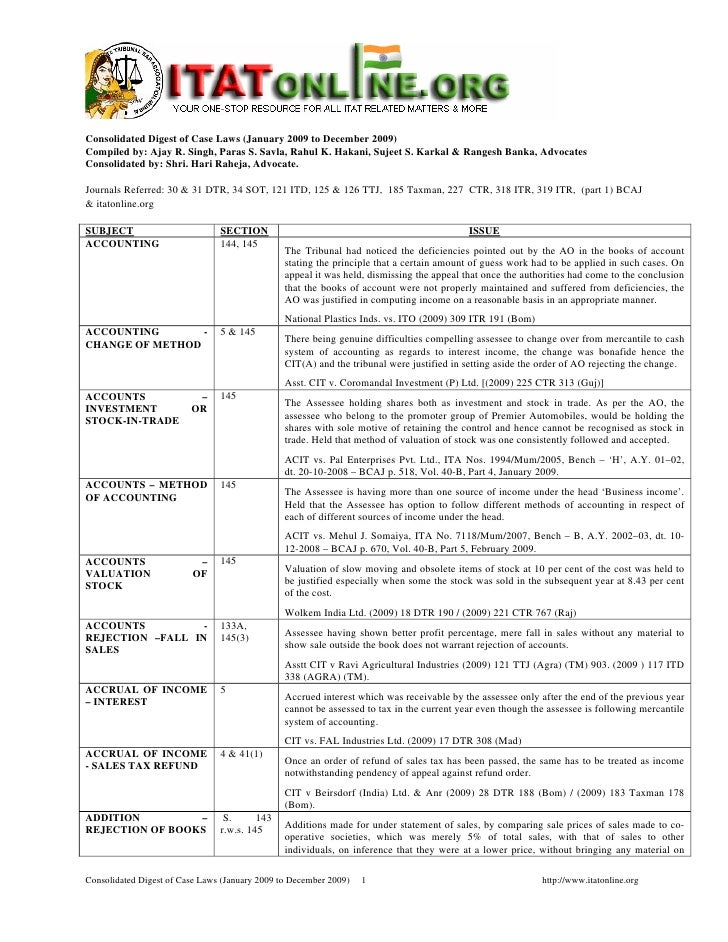 Consolidated Digest Of Case Laws   Jan 2009 To Dec 2009