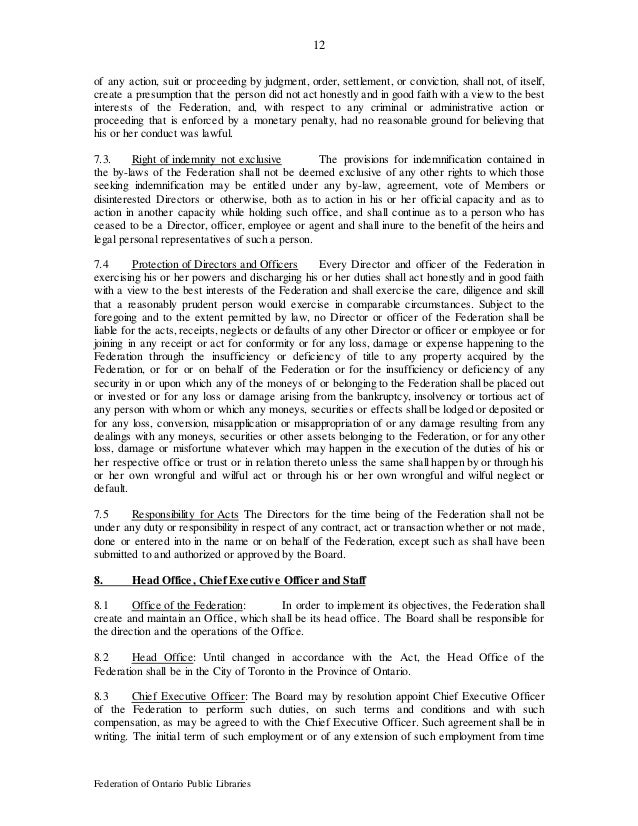 12 Federation of Ontario Public Libraries of any action, suit or proceeding by judgment, order, settlement, or conviction,...