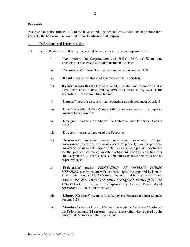 2 Federation of Ontario Public Libraries Preamble Whereas the public libraries of Ontario have joined together to form a f...