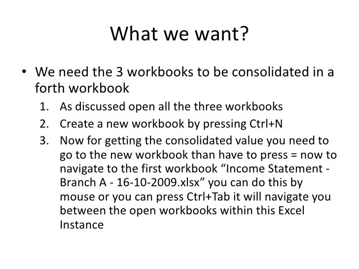 Using Multiple Workbooks Consolidation in Microsoft Excel – Microsoft Income Statement