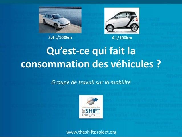 www.theshiftproject.org Qu'est-ce qui fait la consommation des véhicules ? Groupe de travail sur la mobilité 3,4 L/100km 4...