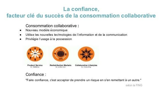 La confiance, facteur clé du succès de la consommation collaborative Consommation collaborative : ● Nouveau modèle écono...