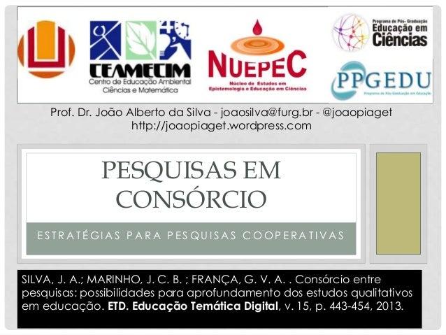 E S T R A T É G I A S P A R A P E S Q U I S A S C O O P E R A T I V A S PESQUISAS EM CONSÓRCIO Prof. Dr. João Alberto da S...