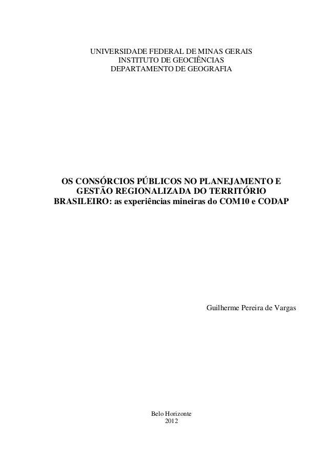 UNIVERSIDADE FEDERAL DE MINAS GERAIS INSTITUTO DE GEOCIÊNCIAS DEPARTAMENTO DE GEOGRAFIA OS CONSÓRCIOS PÚBLICOS NO PLANEJAM...