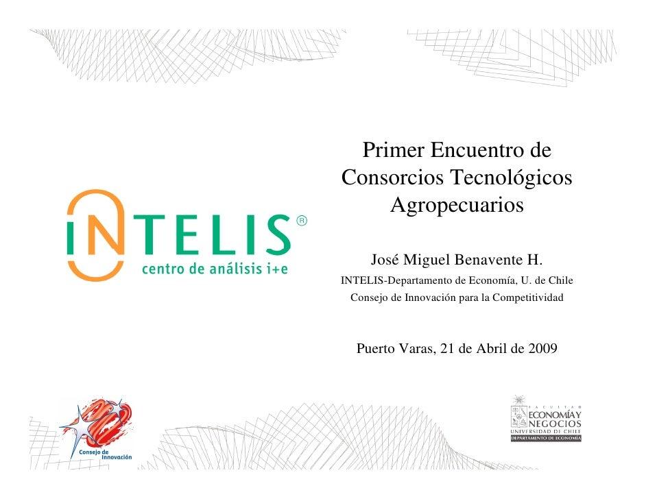 Primer Encuentro de Consorcios Tecnológicos      Agropecuarios       José Miguel Benavente H. INTELIS-Departamento de Econ...