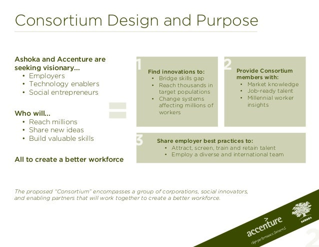 Consortium Design and PurposeAshoka and Accenture areseeking visionary...• Employers• Technology enablers• Social entre...