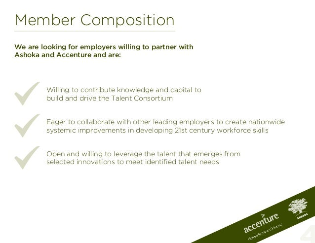 Member CompositionWe are looking for employers willing to partner withAshoka and Accenture and are:Willing to contribute k...