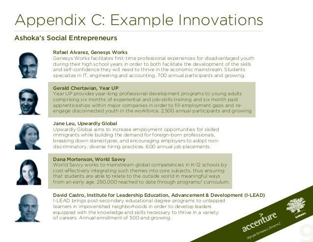 Appendix C: Example InnovationsAshoka's Social EntrepreneursRafael Alvarez, Genesys WorksGenesys Works facilitates first-t...