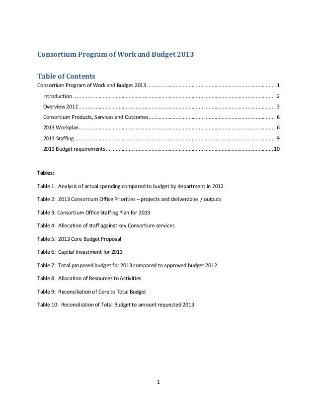 Consortium Program of Work and Budget 2013Table of ContentsConsortium Program of Work and Budget 2013 .......................