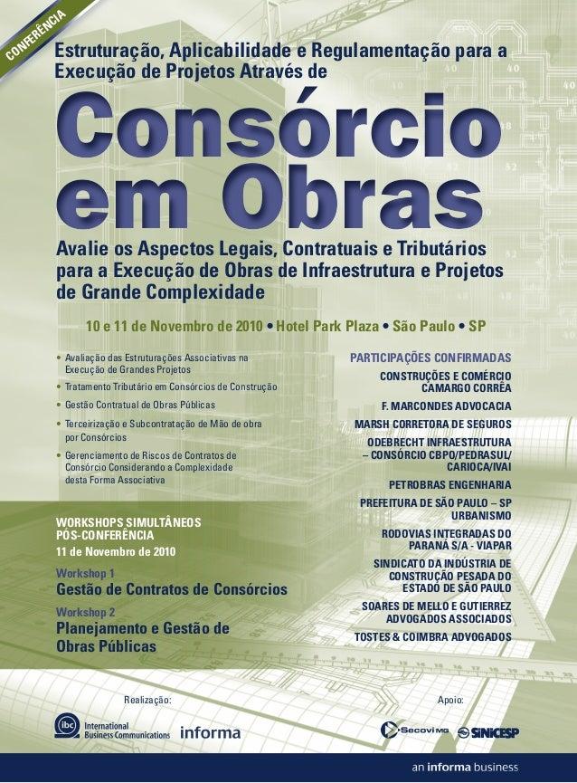 Realização: Estruturação, Aplicabilidade e Regulamentação para a Execução de Projetos Através de Apoio: Consórcio em Obras...