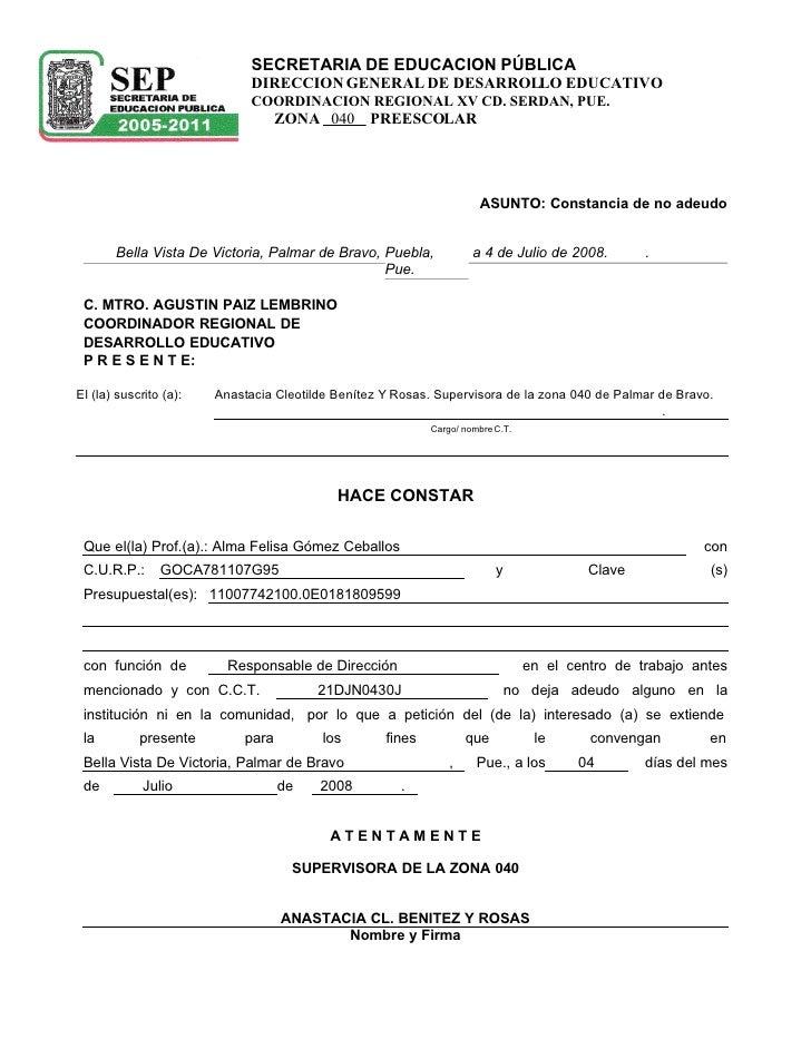 SECRETARIA DE EDUCACION PÚBLICA                               DIRECCION GENERAL DE DESARROLLO EDUCATIVO                   ...